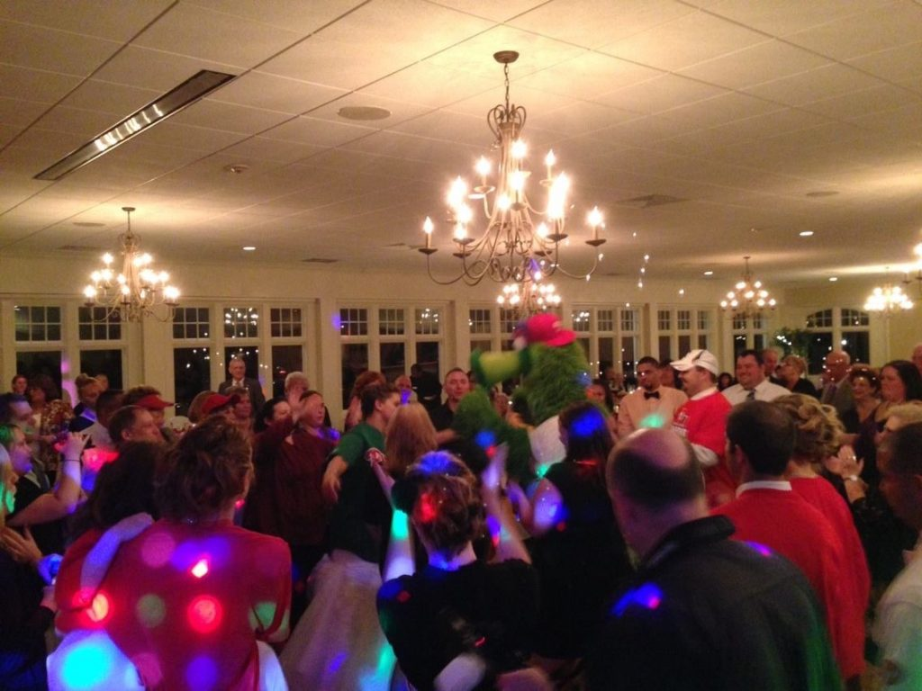 Philly Phanatic at wedding reception