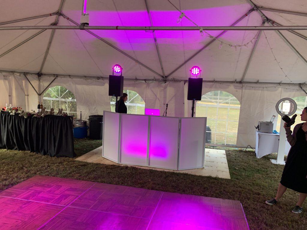 Professional DJ setup outside tent wedding reception